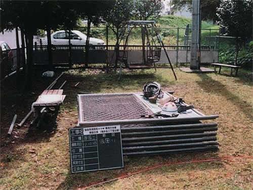▲準備工 仮囲い設置
